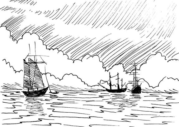 Myron 084- Several Ships on Sea